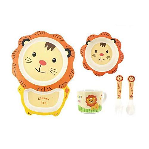 Webuyii 5pcs Kids Bamboo Dinnerware, Toddler Children Cartoon Tableware Baby Divied Plate Bowl Fork Spoon Cup Set Lion