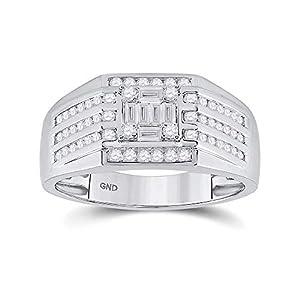 Diamond2Deal Herren-Ring 14 Karat Weißgold Baguette-Diamant quadratisch 3/4 Karat