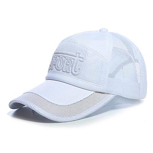 Casquette de Baseball Summer Mesh Baseball Cap Outdoor Respirant Health Cool Hat Shade Sun Hat Men Cap for Women on Foot 56-58Cm White