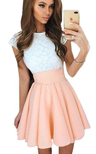 ECOWIH damska koronkowa sukienka o linii A, bez rękawów, plisowana, koktajlowa impreza łyżwiarska spódnica