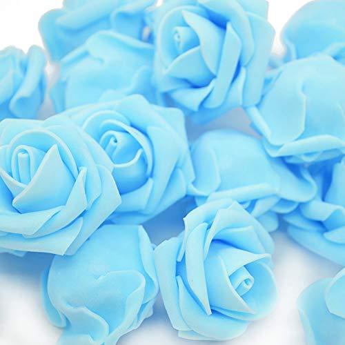 Warmiehomy Schaumrosen Schaumköpfe Künstliche Blume Brautstrauß 50 Stück DIY Foam Rosen Ideal für Hochzeit, Partys, Zuhause, Garten, Büro Dekoration (Blau)