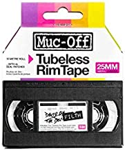 Muc-Off Tubeless Rim Tape, 25mm - Pressure-Sensitive Adhesive Rim Tape for Tubeless Bike Tyre Setups - 10 Metre Roll with 4 Seal Patches