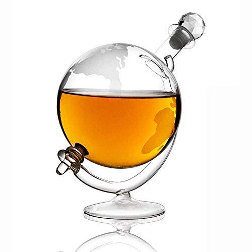 HJYSQX Decantadores de Vino de Licor Decantador de Whisky de Vidrio con Cuna y tapón, Jarra de Whisky Vintage World Design Ron, Brandy y Licor (Color: A)