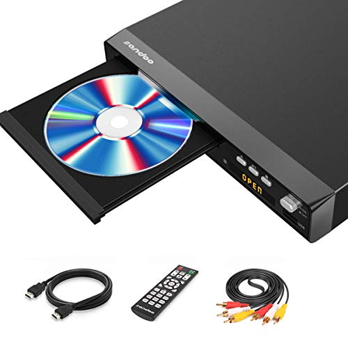 Sandoo DVD Player, Metallgehäuse, DVD-Player für TV, Alle Regionen DVD-Player mit HDMI / AV-Kabeln, Integriertes Signalsystem: PAL / NTSC / Auto, MP2208