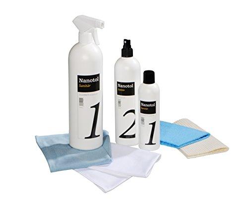 Professionele badkamerverzegelingsset met lotuseffect, nano-verzegeling, nanotol sanitaire set met cleaner & protector + microvezeldoeken voor bescherming tegen kalk voor douchecabine, keramiek, tegels