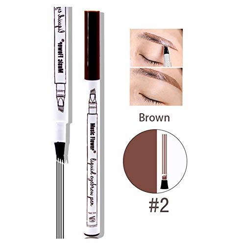 Xiton 1pc Superfine Tattoo Pen Sourcils Avec quatre conseils de longue durée Brow Pen liquide imperméable Crayon Sourcils fourchette Tip Brow Gel pour les yeux de maquillage (02 Brown)