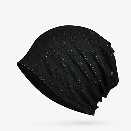 BUXIANGGAN Gorro Beanie Sombrero Turbante Sombrero Primavera Verano Sombreros para Mujeres Hombres Unisex Doble Capa Transpirable Gorro Fino Gorro De Malla Femenina Cola De Caballo Negro