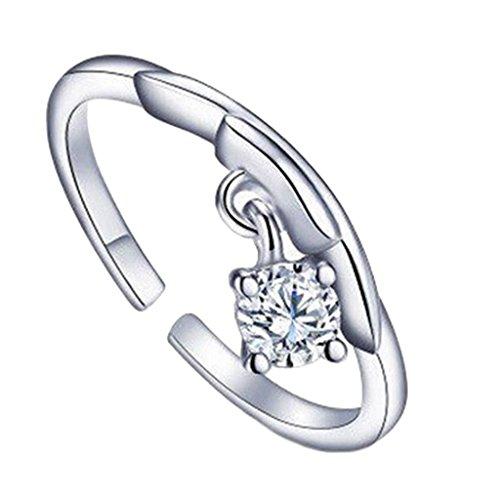 Verzilverd Ster Teken Weegschaal Ring Grootte 17 (NL) 8 (US) Verstelbaar Open Dierenriem Strass Duim Dames Inpakken