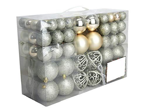 100 Weihnachtskugel Creme Champagner mit 100 Metallhaken Anhänger Christbaumschmuck Weihnachten