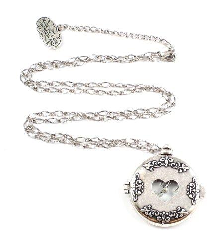 Disney Couture - Collar con reloj de bolsillo de oro blanco de...