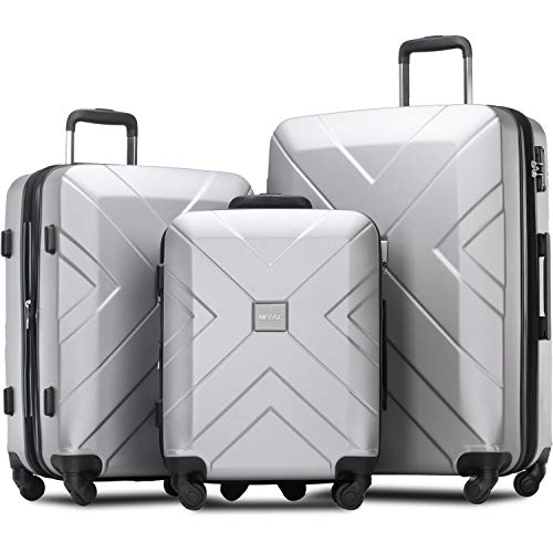 Merax 3 Piece Luggage Sets Expandable ABS Spinner Suitcase with TSA Lock 20 inch 24 inch 28 inch (Light Silver)