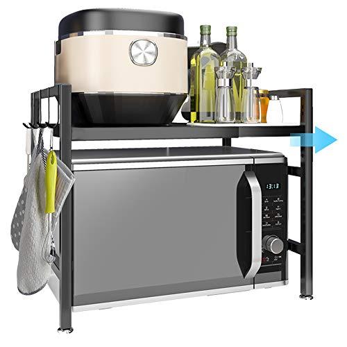 Heuffe Estante para microondas de acero inoxidable, resistente estante para microondas, 2 capas, tubo cuadrado para horno, microondas, estante de trabajo, con 4 ganchos para colgar, color negro