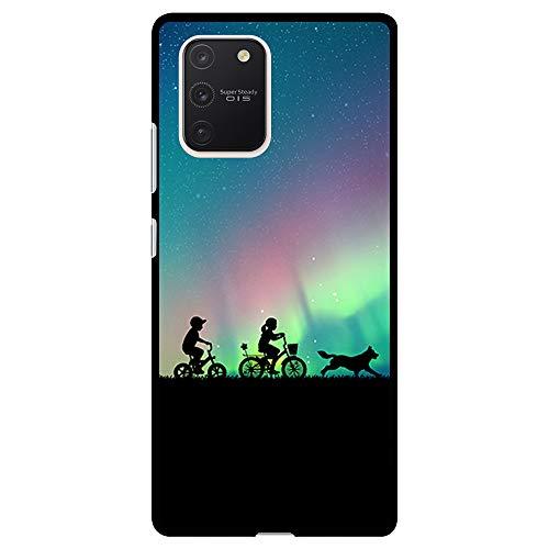 BJJ SHOP Custodia Nera per [ Samsung Galaxy S10 Lite/Samsung Galaxy A91 ], Cover in Silicone Flessibile TPU, Design: Bambini dell Aurora boreale con Bicicletta e Cane