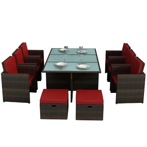Jet-line Gartenmöbel Bali braun/rot - Aluminium Essgruppe Tisch sechs Stühle, Vier Hocker, Glas, Sitzkissen Rattan Polyrattan