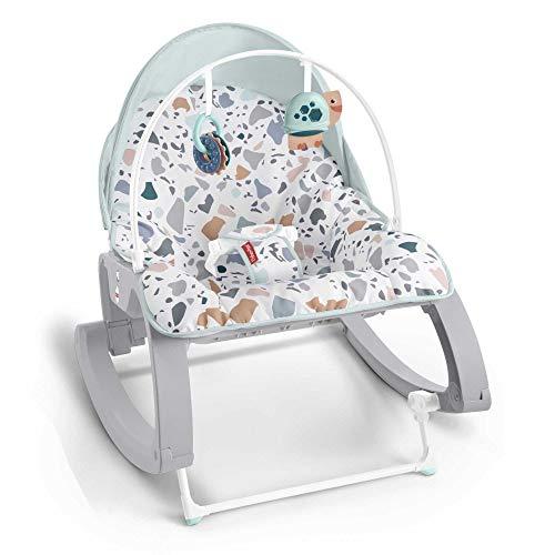 Fisher-Price GMD21 2-in-1 Umwandelbarer Schaukelsitz mit Verdeck, mehrfarbig, für Babys und Kleinkinder zum Füttern, verstellbare Sitzpositionen und Spielzeuge zum Anstupsen