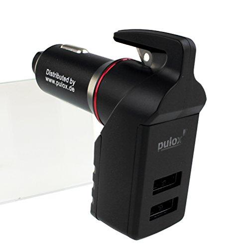 PULOX 3-in-1 Notfalltool Notfallhammer Federkörner Gurtschneider und USB Auto Ladegerät Nothammer Fenster