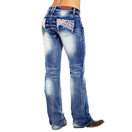 Newest Women's Jeans American Flag Bootcut Jeans,Patchwork Vintage Stretch Washed Mid Rise Bootcut Jeans-5 Pocket-L
