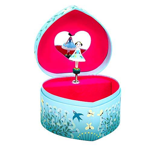 Djeco Spieldose mit Musik Schmuckkästchen Tänzerin blaues Kleid Musikdose in Herzform Grün mit buntem Druck