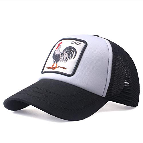 Unexceptionable-Baseball Caps Baseballmützen Sommer Tier Stickerei Mesh Cap Cock net Kappe Hüte für Männer Women'snapback Gorra Casual Hip Hop Cap @ Black_White_Adjustable_> 8Y
