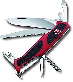 Victorinox Ranger Grip 55 Couteau de Poche Suisse, Multitool, 12 Fonctions, Grande Lame Fixe, Tire Bouchon, Rouge/Noir