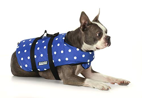 Seachoice 86270 Dog Life Vest - Adjustable Life Jacket for Dogs, with Grab Handle, Blue Polka Dot, Size XS, 7 to 15 Pounds