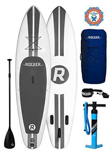 """iROCKER Paddle Boards Inflatable 10' 6"""" Thick SUP Package (White + Leash)"""