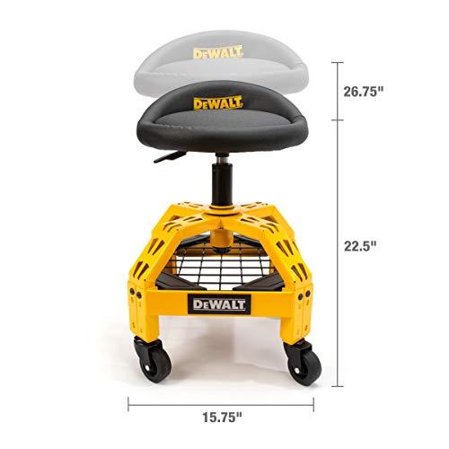 Dewalt Padded, Rolling Shop/Garage Stool, 360-degree Swivel Seat, Durable Steel Frame, Adjustable