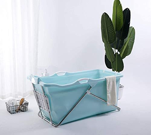 Schwänlein® mobile badewanne Faltbare Badewanne 128cm mit Seifenkorb, Nackkissen, Hocker. Praktisch und Tragbar (Blau)