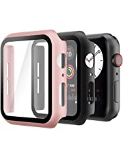 Hianjoo 2 Delige Hoes met Geharde Schermbeschermer Compatibel met Apple Watch 44 mm, Harde PC Hoes Compatibel met iWatch SE Series 6 5 4, Volledige Bescherming, Antikras
