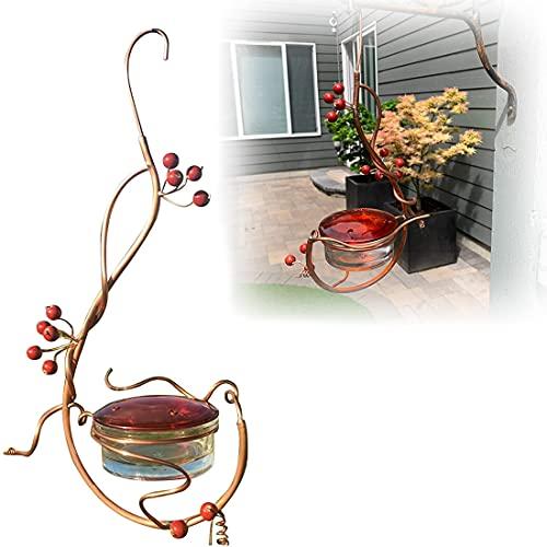 Hummingbird Feeder,Outdoor Metal Hanging Red Berries Bird Feeder, Decorative Landscape for Outdoor, Garden, Patio, Yard, Tree (A)