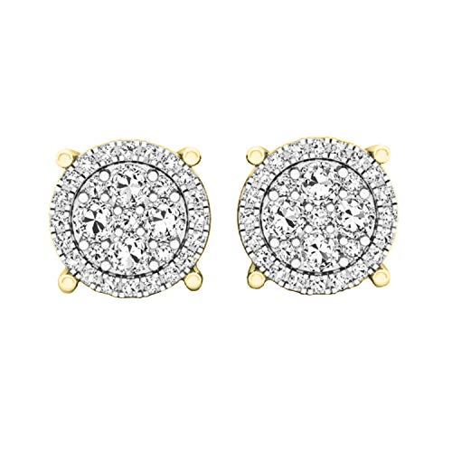 Dazzlingrock Collection 0.40 Carat (ctw) Round White Diamond Ladies Cluster Flower Stud Earrings, 14K Yellow Gold