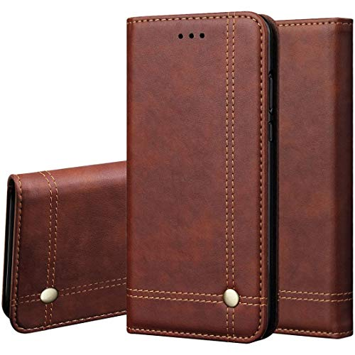 Pirum Magnetic Flip Cover for Samsung Galaxy Note 20 Ultra Leather Case Wallet Slim Book Cover with Card Slots Cash Pocket Stand Holder - Brown