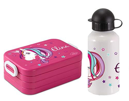 Mein Zwergenland Set Lunchbox Mepal Maxi Take A Break midi Brotdose und Alu-Trinkflasche mit eigenem...