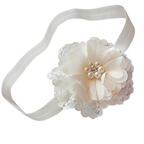 white silver head band flower girls hair accessories Chiffon girls headband christening, newborn photo prop chic crystals hair band