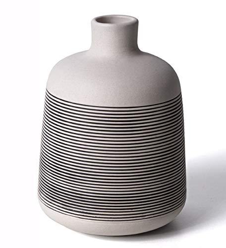 2er Set Vase aus Keramik, 11,5 cm hoch, als Deko für Küche, Badezimmer, als Tischvase im Wohnzimmer, Balkon oder Garten in natur - weiß