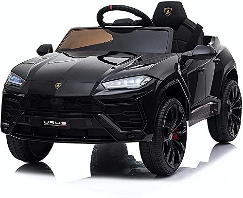 Mondial Toys Auto Macchina ELETTRICA Per Bambini 12V LAMBORGHINI URUS con Sedile in Pelle Cintura di Sicurezza A 3 Punti Telecomando Nero