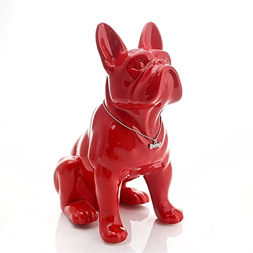 Ceramic French Bulldog Dog Statue, Home Decor Accessory, Craft, Objects Ornament, Porcelain Animal Figurine, R4197 (Color : Red, Size : 16x10x18cm)