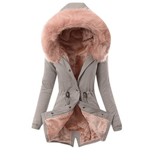 SANFASHION Hiver Manteau Long Femmes Chaud, Blouson Coat Veste Col Capuche Fourrure Fausse Manteaux Polaie Chaud Slim Outwear Jacket Manteaux Vintage Mode Chic