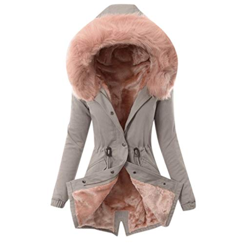 YBWZH Winterjacke Damen mit Kunstfellkapuze Parka Gefütterte Winddichte Übergangsjacke Winter Warme Dicke Lange Jacke Mantel Windjacke Verdichte Steppjacke Damen Kapuze Strickjacke