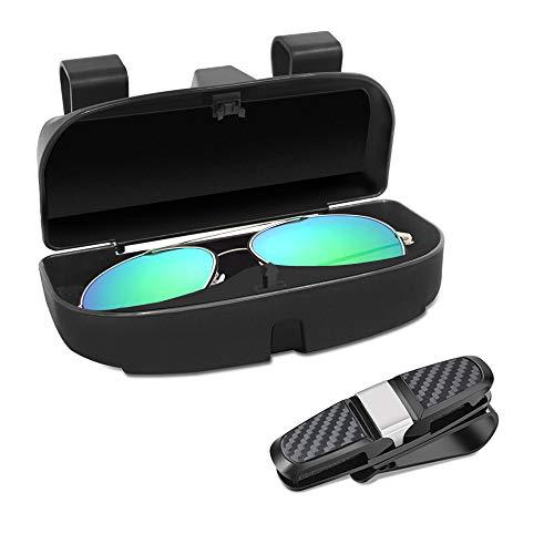 SENHAI - Caja organizadora para gafas para el parasol con clip para tarjetas de crédito, compatible con todos los modelos de vehículo