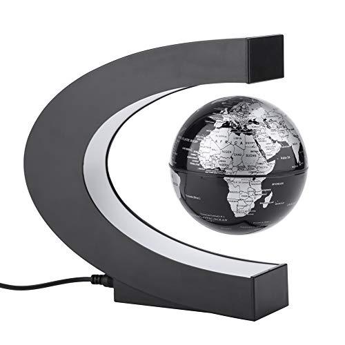 Globo Terráqueo Magnético, C Forma Globo Flotante de Levitación Magnética, Mapa de Mundial Rotativo con LED Lámpara para enseñando oficina sala decoración regalo creativo UE100-240V