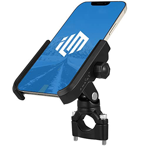 """ILM Upgraded Bike Motorcycle Phone Mount Aluminum Bicycle Cell Phone Holder Accessories Fits iPhone X Xs 7 7 Plus 8 8 Plus iPhone 6s 6s Plus Galaxy S7 S6 S5 Holds Phones up to 3.7"""" Wide (Black)"""