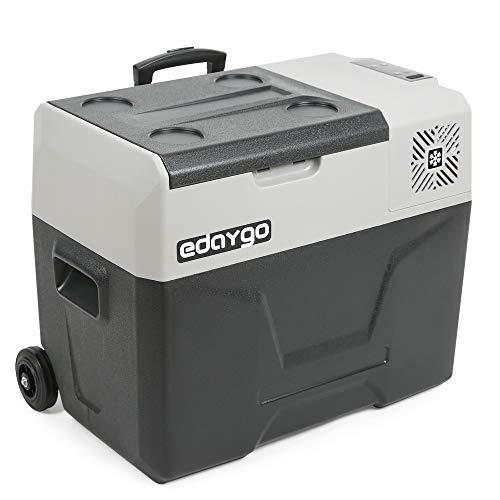 Edaygo Nevera de Compresor, Frigorífico, Congelador de Arcón para Camping, Silencioso, Conexión 12-24 V / 100-240 V, Pantalla LED, Función ECO, 40 Litros