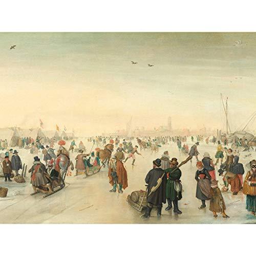 Avercamp genieten van het ijs in de buurt van een stad schilderij ingelijst muur kunst afdrukken 18X24 In