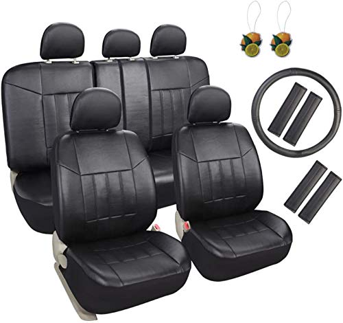 Leader Accessories 17pcs Black Faux Leather Car Seat Covers Full Set Front + Rear with Airbag Universal Fits for Trucks SUV Included Steering Wheel Cover / Seat Belt Covers