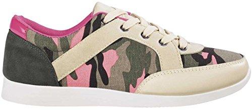 Esmara® Damen Sneaker (beige/pink/Oliv - Camouflage, Gr. 39)