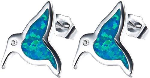 JIALI Created Fire Opal Gemstone Earrings Women Charm Sterling Silver Personality Bird Stud Earrings Jewelry Girl,Blue,Blue