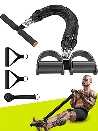 EXF Pedal Resistance Band Set,Fitness Elastic Pull Rope for Waist,Arm,Leg Training,4-Tubes Natural Latex Multi-Function Tension Rope Sit-up Equipment for Home Gym Fitness