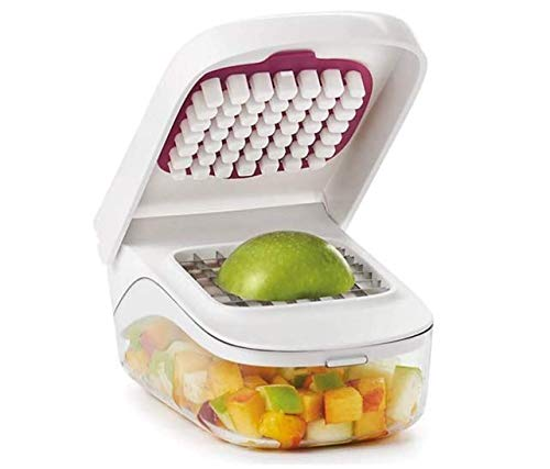 Stainless Steel Food Chopper Kitchen Vegetable Dicer Vegetable Cutter Veggie Chopper with Container Slicer Dicer Cutter Potato Salad Fruit Apple Carrot Chopper