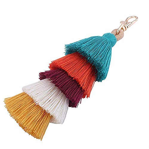 This colorful cotton pompom keychain with beaded accents is a lively way to identify your keys. Decorate your purse, tote or backpack with this trendy pom pom bag charm. Each piece is unique adding to its individuality and character.It looks lovy and...